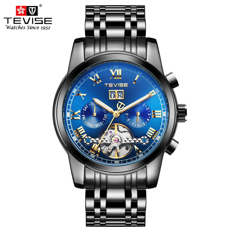 Tevise Business Mechanical Men Watches Luxury Skeleton Tourbillon Automatic Wristwatch Man Stainless Steel Calendar Week Clock цена и фото