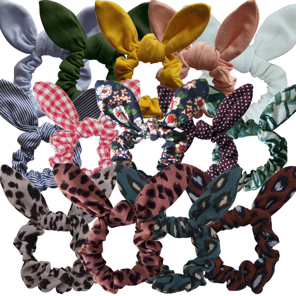 Bunny Ear Hair Scrunchie Girls/Women Knot Bow Hair Bands Hair tie Bows Rabbit Ear Elastic Ponytail Holder Elastic Bands Hair bow