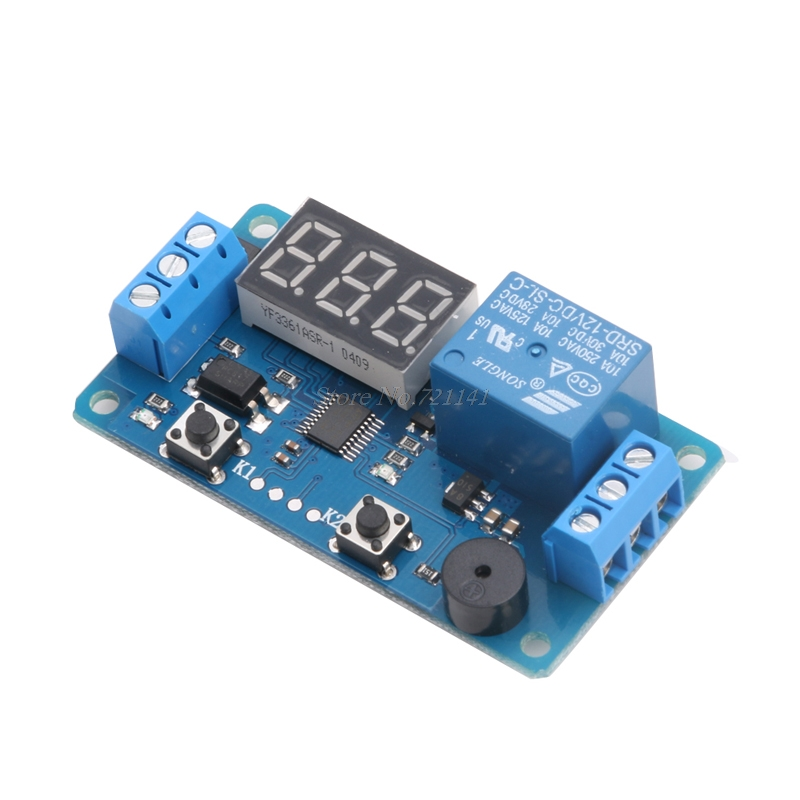 12V LED Display Module Delay Timer Relay Control Programmable Switch Car Buzzer