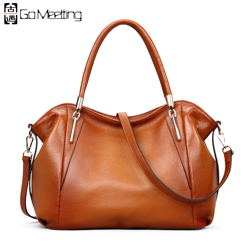 Go Meetting Genuine Leather Women's Handbags High Quality Cowhide Women Shoulder