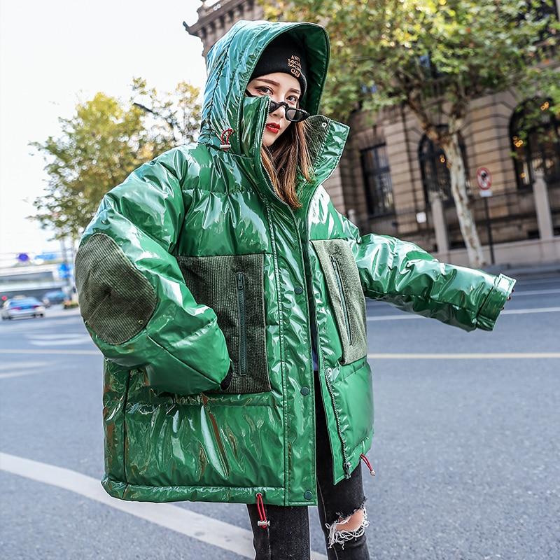 Winter Women Jacket Girl Shiny   Parkas   Female Streetwear Padded Winter Glossy   Parka   Short Thicken Hooded Girl's New Cotton Coat