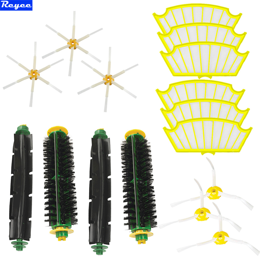 Flexible Beater Brush Bristle Brush Filters & Brush 3/6 armed for iRobot Roomba 500 Series Vacuum 510 520 530 560 Free Shipping 3 filters 3 side brush 3 armed vacuum cleaner accessory kit for irobot roomba 500 series 530 540 550 560 570 580 610