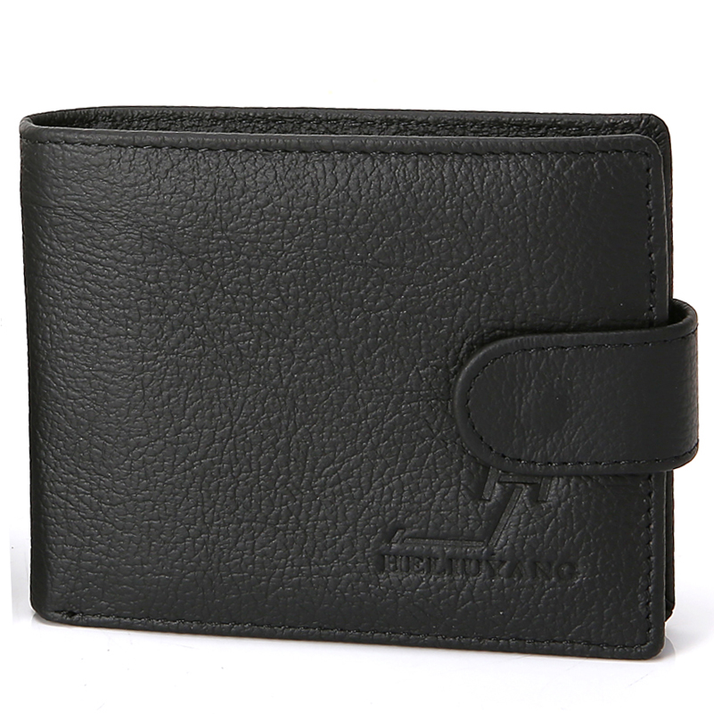 цены  New Design Men's Wallets Genuine Cow Leather Black Brown Colors Quality Soft Hasp ID Credit Card Holder Coin Pocket Purse Wallet