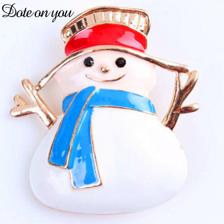White Pure Alloy Drop Oil Snowman Brooch Upscale Vintage Cute Christmas Ornament Sweater Hat Scarf Brooch Hundred Jewelry Gift