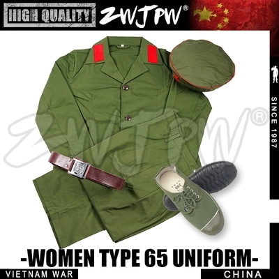 65 TYPE WOMENS Army Uniform Full Set Chinese Soldier 65 Uniform Jacket And Pants Green Color 1965