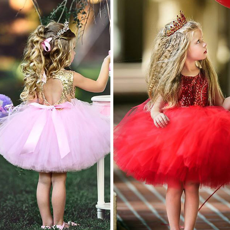 Cute Princess Dress for Girl Birthday Party Wear Sequin Kids Dresses for Girls Formal Clothing Backless Fluffy Cake Ball GownCute Princess Dress for Girl Birthday Party Wear Sequin Kids Dresses for Girls Formal Clothing Backless Fluffy Cake Ball Gown