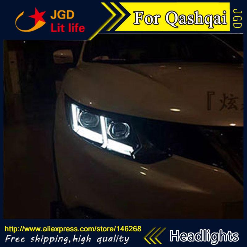 Free shipping ! Car styling LED HID Rio LED headlights Head Lamp case for Nissan QASHQAI 2016 Bi-Xenon Lens low beam free shipping 2pcs lot t10 ba9s car led lamp light 12v parking lamp light bulb for nissan qashqai with xenon terrano3 xtrail