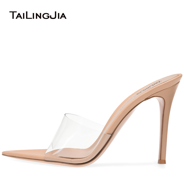 462684ae398133 Women Open Toe High Heel Mules Transparent PVC Sexy Dress Shoes Pointy  Front Plexi Sandal Ladies Stiletto Heel Summer Shoes 2019