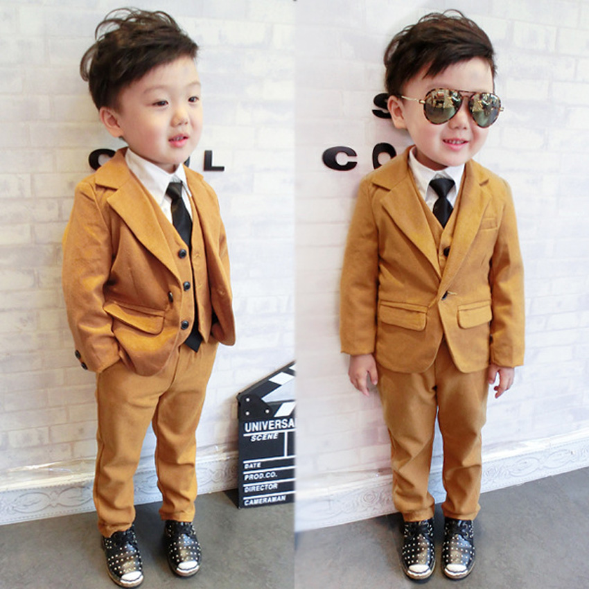 ФОТО 2016 Boys Blazer Kids Formal Long Sleeve Jackets Suit Single Breasted Jacket+Vest+Pants 3 Pieces Clothes Set Children Blazer 085