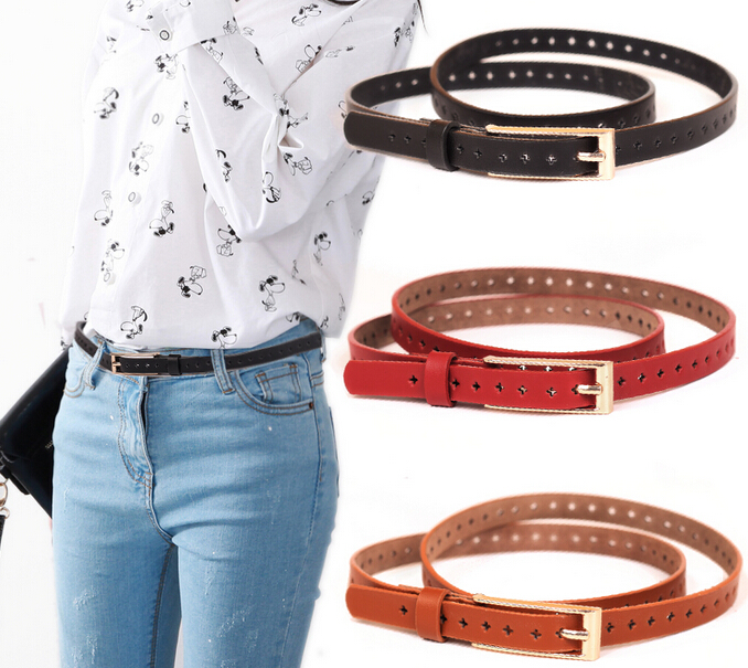 Wholesale Price 2017 Women Hollow Out Decorate Vintage PU Leather Belt Fashion Casual Thin Belt Ladies All Match Jeans Belt image