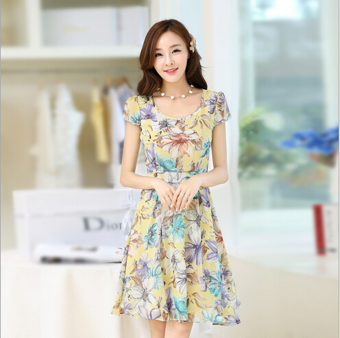 Temperament Of Cultivate One S Mity Show Thin Casual Summer Dresses Beautiful Long Chiffon Print B