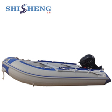 Gray&blue 0.9mm PVC inflatable rubber boats and cheap 4.8 Parsun outboard motor