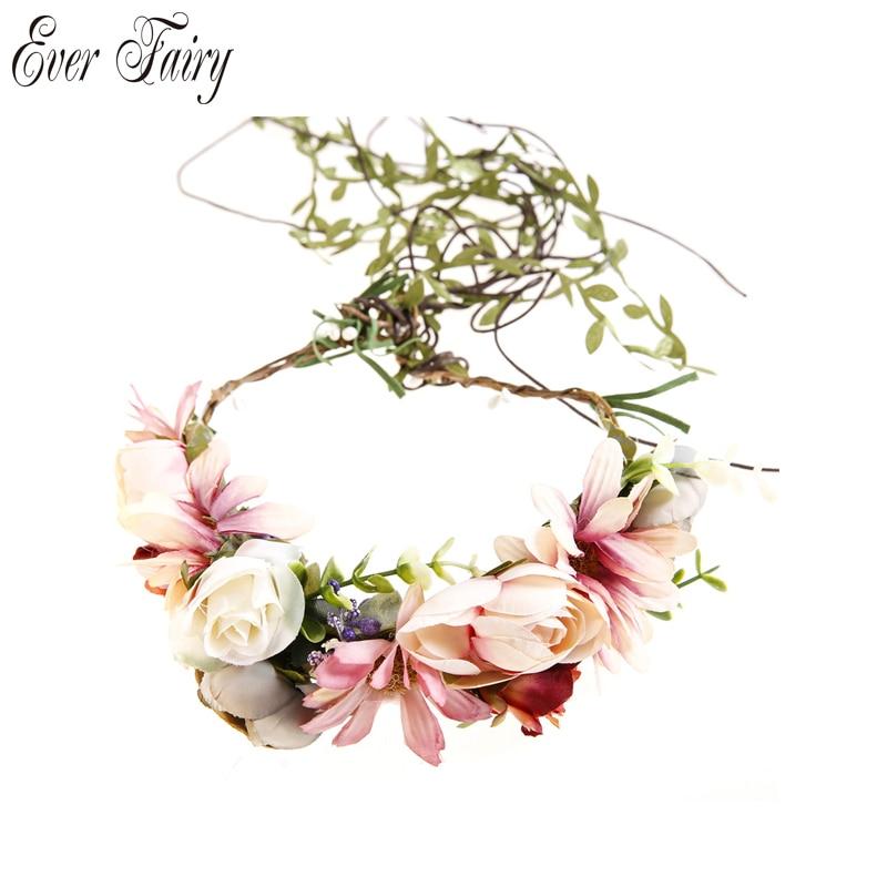 EVER FAIRY 2017 Women Flower Crown Festival Wedding Girls Party headband flower Garlands Halo With Ribbon Flower Headband Wreath