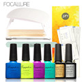 Focallure Nail Art Set Manicure Tools Sunuv 6W UV Lamp 4Color Gel Polish Base Coat Top Coat with Nail Tools for Gift Kit