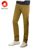 Korean Style Slim Fit Khaki Pants Chinos Designer Brand Casual Skinny Cotton Pants For Men Straight