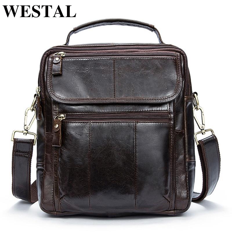 WESTAL bag men s genuine leather men s shoulder bag for men vintage messenger crossbody bags