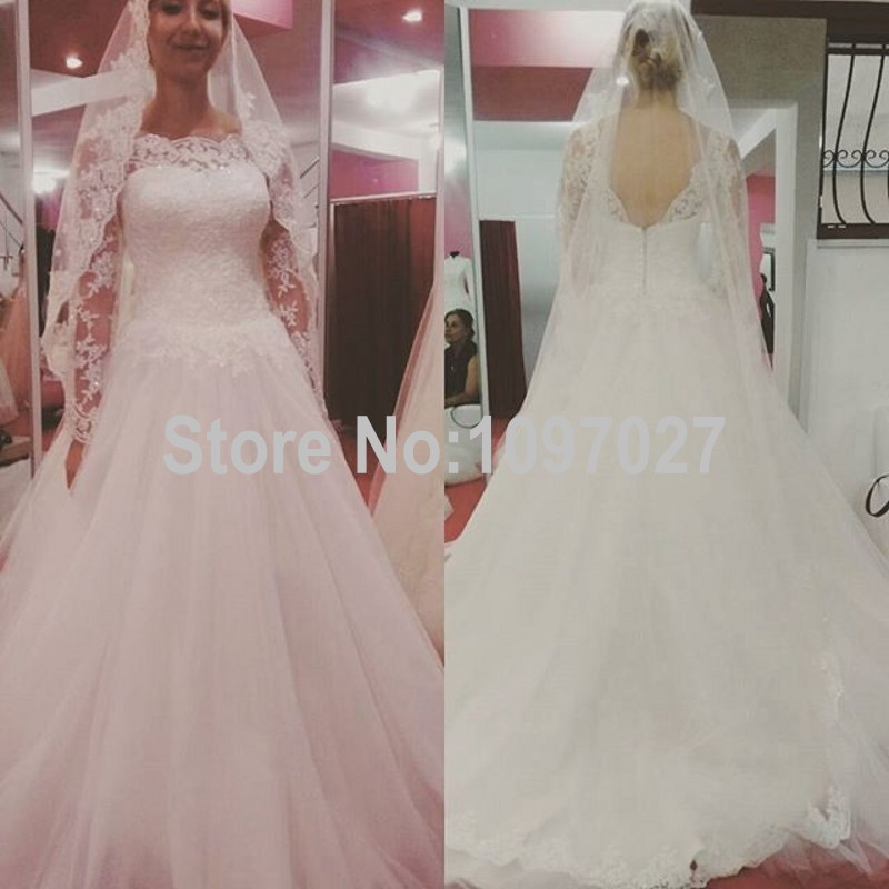 Wedding Gown Patterns With Sleeves: Ball Gown Boat Neck Long Sleeves Wedding Dresses Lebanon