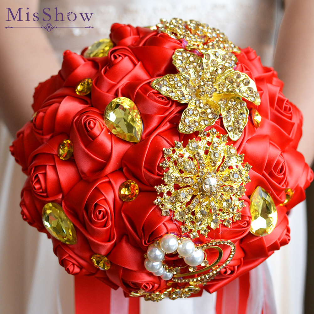 Gorgeous crystal Wedding Bouquet Red Brooch bouquet wedding accessories Bridesmaid artificial Wedding flowers Bridal Bouquets