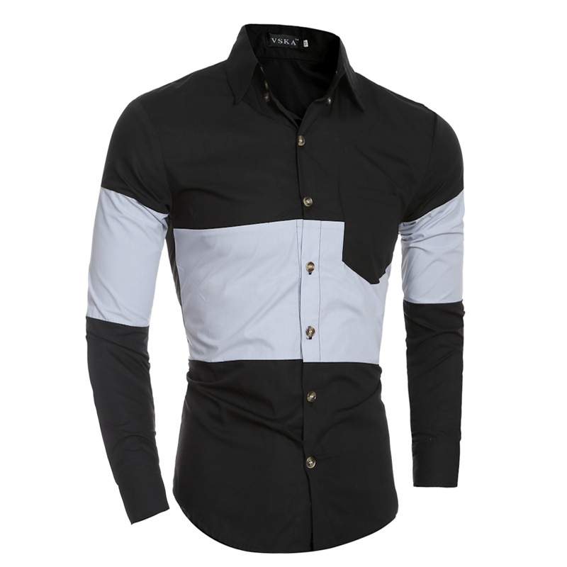 2017 Autumn And Winter Personality Of The New Design Of Men's Casual Wear Long Sleeved Shirt Long Sleeve Men Dress Shirts 40