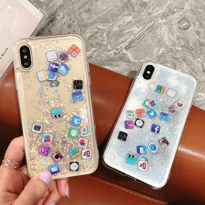 5abb9dcc98fb El señor orange de brillo líquido de Glitter. Arenas Movedizas APP Logo  icono de teléfono caso para iphone X 8 8 plus 7 7 plus 6 6 plus 6 S 6 claro  + ...