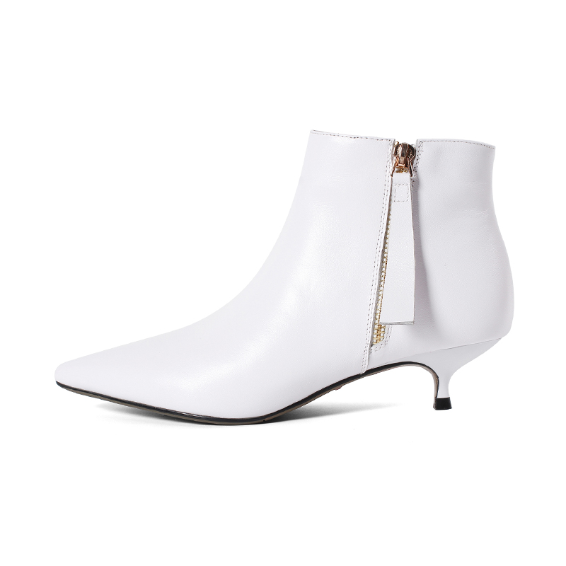 f8b2176844b New cow leather low heels women ankle boots black white office ladies dress  shoes spring autumn boots woman size 41 42 43-in Ankle Boots from Shoes on  ...
