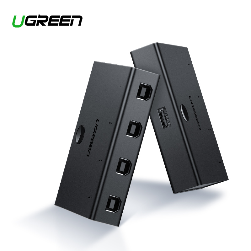 Ugreen KVM interruptor USB compartir conmutador 4/2 piezas compartir 1 dispositivo 4/2 Port KVM Selector para teclado de Monitor USB interruptor KVM