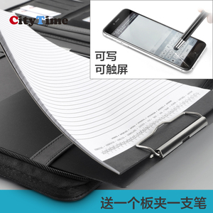 Image 5 - multifunctional zipper leather business manger bag a4 file folder organizer with ipad stand USB rigid disk fasterner 1105B