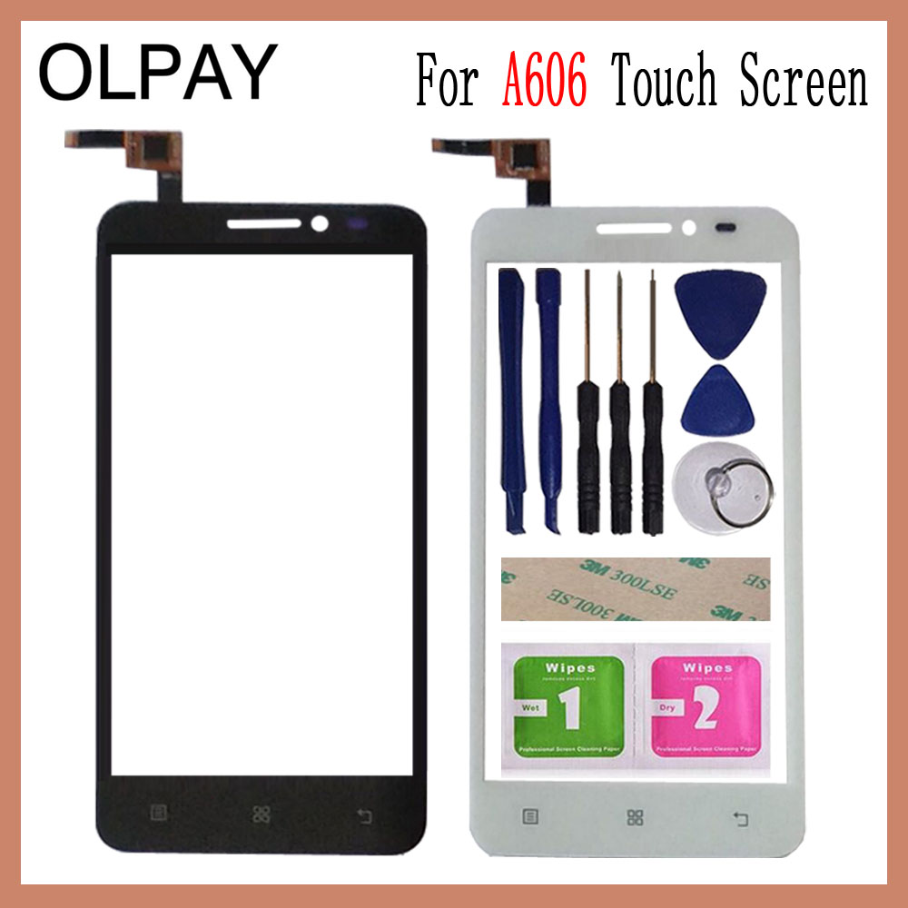 OLPAY 5.0 Inch For Lenovo A606 A 606 Touch Screen Digitizer Panel Front Outer Front Glass Lens Sensor Free Adhesive+Wipes