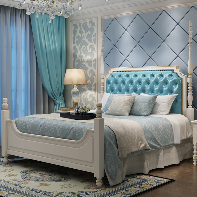 American Solid Wood, 1.8 M Double Bed, Princess, American Style, All Solid Wood Bed, Leather Bed