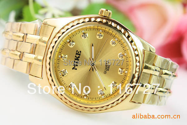 High Quality New Design Luxury Brand Mike Exquisite Gold Stainless Steel Quartz Man Watch Men Noble Business Gift Wrist Watch
