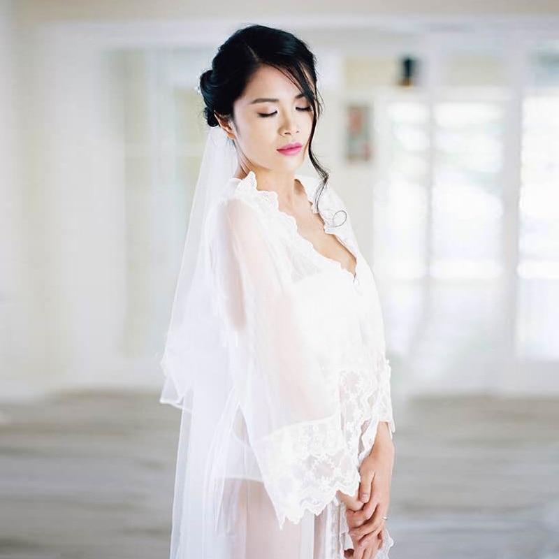 Embroidery White Sheer Nightgown Bridesmaids Princess Long Sleeve Night Gown Long Ladies Nightdress Sleep Dress Nacht Kleding In Nightgowns Sleepshirts