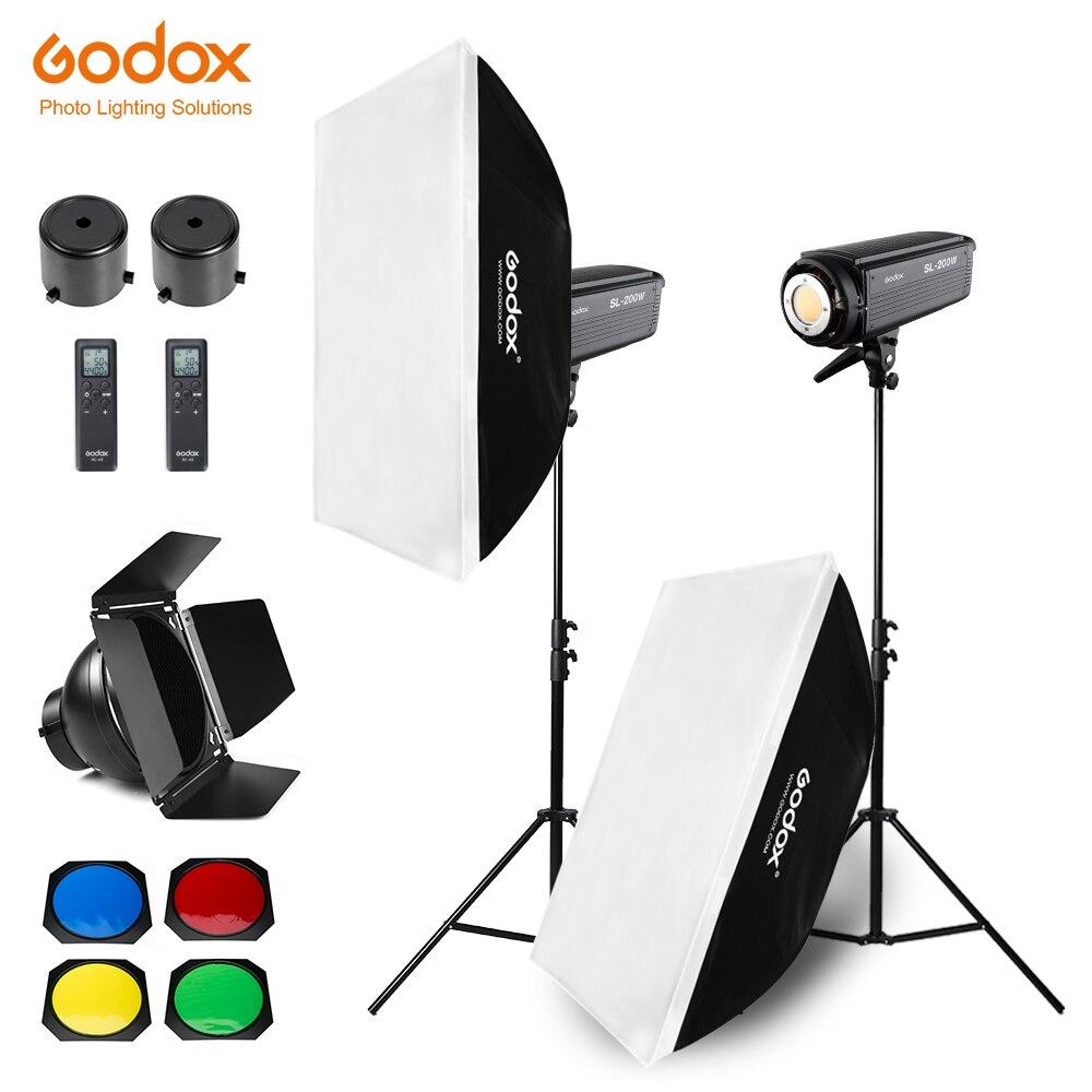 Bezpłatne DHL 400 W Godox SL 200W 2x200 W ciągła jasny apartament typu Studio światło LED, Softbox, lekki statyw, siatka o strukturze plastra miodu dla fotografia wideo w Akcesoria do studia fotograficznego od Elektronika użytkowa na  Grupa 1