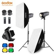 Bezpłatne DHL 400 W Godox SL 200W 2x200 W ciągła jasny apartament typu Studio światło LED, Softbox, lekki statyw, siatka o strukturze plastra miodu dla fotografia wideo