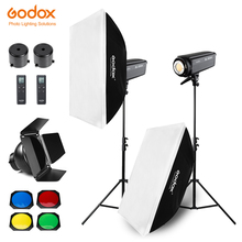 Free DHL 400W Godox SL 200W 2x 200W Continuous Light Studio LED Light,Softbox,Light Stand, Honeycomb Grid For Photography Video