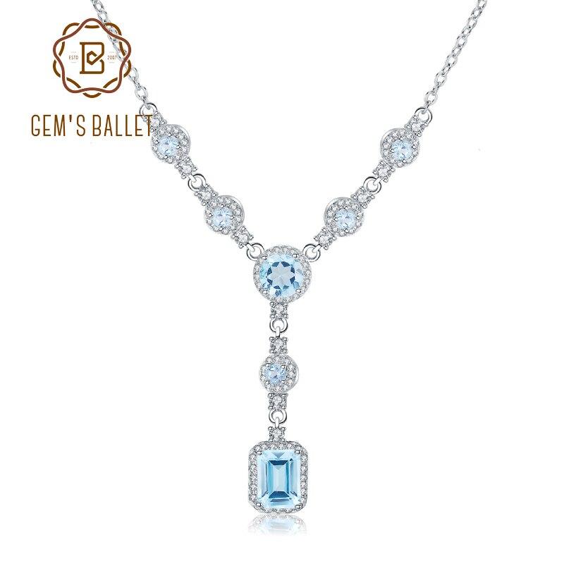 GEM S BALLET 3 77Ct Natural Sky Blue Topaz Gemstone 925 Sterling Silver Classic Pendant Necklace