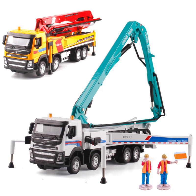 US $54 0 |Alloy model car truck acousto optic concrete pump truck adult  metal ornaments Children's Day Christmas New Year gift 1:50-in Diecasts &  Toy