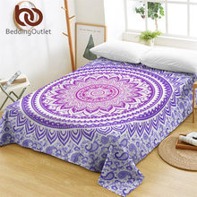 BeddingOutlet Mandala Flowers Bed Sheets Green Purple Pink Flat Sheet Soft Bed Linen Bohemian Floral Tapestry sabanas One Piece(China)