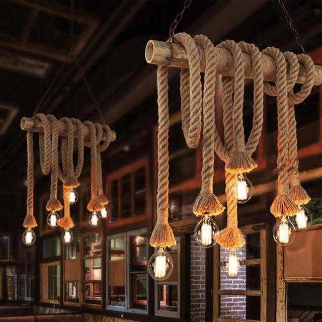 Vintage Hemp Rope Pendant Lights Loft Industrial Style Classical Indoor Lighting Lamp DIY For Edison bulb E27 Rope Light Base