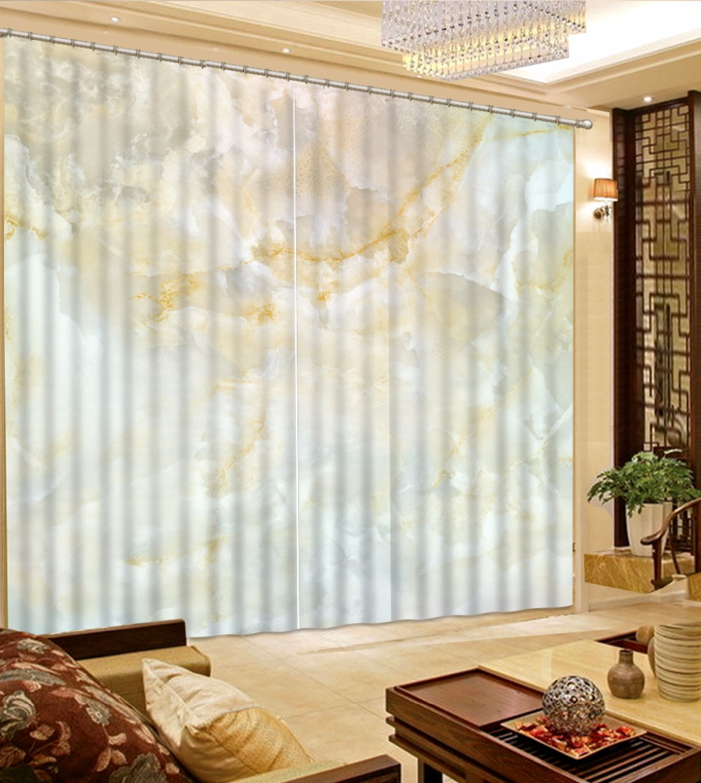 European Luxury 3D Curtain Marble Pattern Blackout Curtains For Living Room Bedroom Window Drapes Cotinas Para Sale