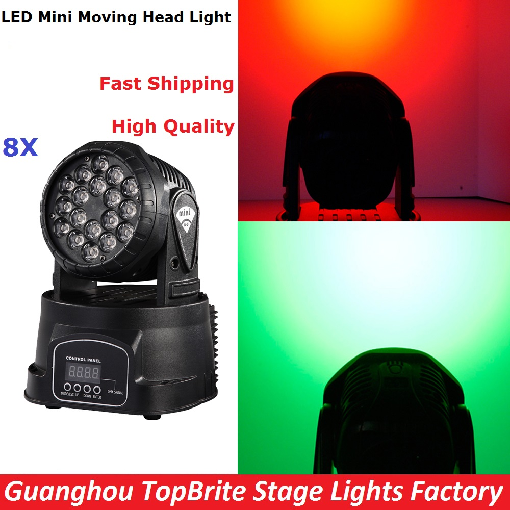 8Pcs/Lot Mini LED Moving Head Light Good Quality 18X3W RGB Mini Wash With 8/13 DMX Channels For Professional Stage Dj Lights