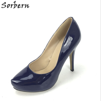 Sorbern Navy Blue/Black Shiny Pu Women Pumps 11Cm High Heels Platform Pump Dress Shoes Women Custom Colors Real Images