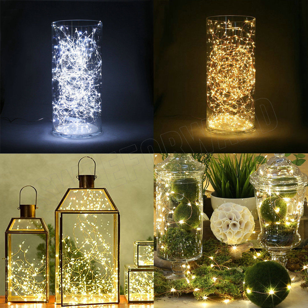 Outdoor Holiday String Lights : LED Strip 2M 20LED Button Cell Battery Powered Fairy Light String Copper Outdoor Holiday Xmas ...