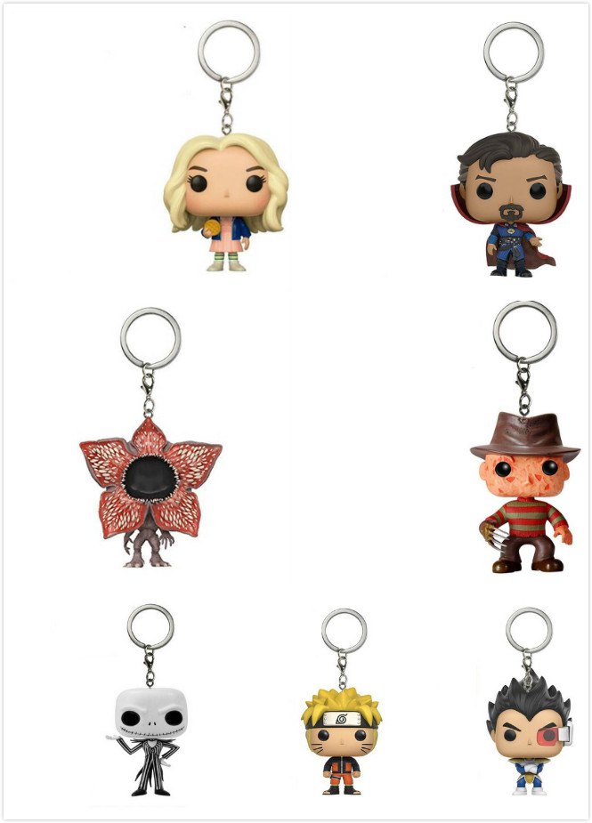 Doctor Who DRAGON BALL Naruto 10/11/12th Dr.Strange Stranger Things Freddy Krueger Jack Keychain Action Figure Anime Gifts Toy