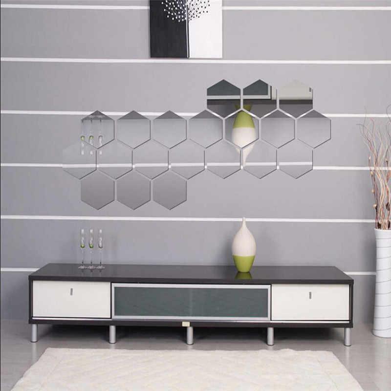 Espejo 3D pegatinas de pared hexagonales de acrílico extraíble espejo de la pared etiqueta de la pared decoración del hogar