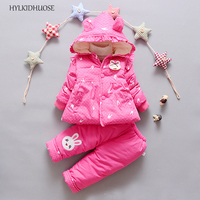 HYLKIDHUOSE 2017 Winter Infant Newborn Clothes Sets Cartoon Baby Girls Suits Thick Warm Hooded Coats Pants