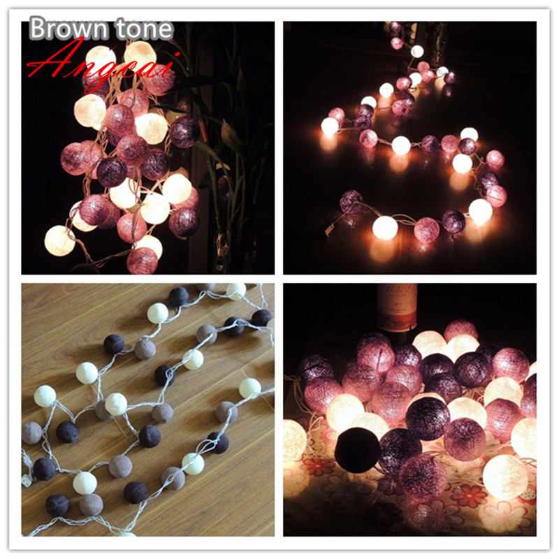 20pcs/sets Thai Style Cotton Ball String Lights, Party,patio,wedding,newborn,xmas,valentine Decor Gift -multicolor Can Choose