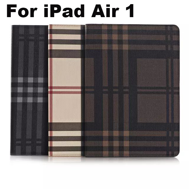 For Apple iPad Air 1 case Cover With Card Slots Business Plaid PU Leather Protective Skin Case Cover Tablets Accessories+gifts stylish plaid handbag designed plastic pu leather case w card slot for iphone 5 5s black