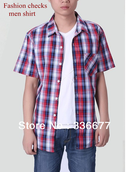 505c53905b 100%Cotton checks/plaids Elegant casual short sleeve summer check shirt for  men Free shipping M , L , XL, XXL QR-1010