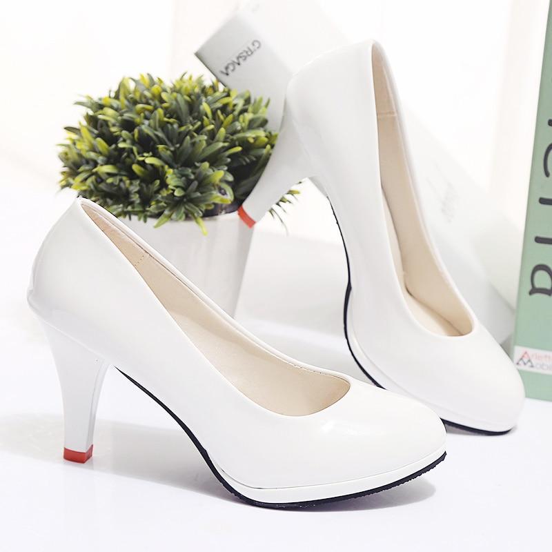 Étanche Talons Bout Lady E3229 Douce c e Pompes Pu En d Rond A Noir Cuir Blanc Casual Mode Hauts Féminine À Chaussures Femmes OnxPUU