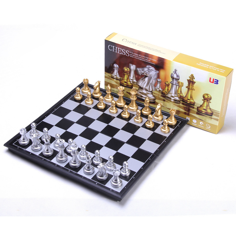 Gold Sliver Magnetic Chess Pieces Set Staunton Style